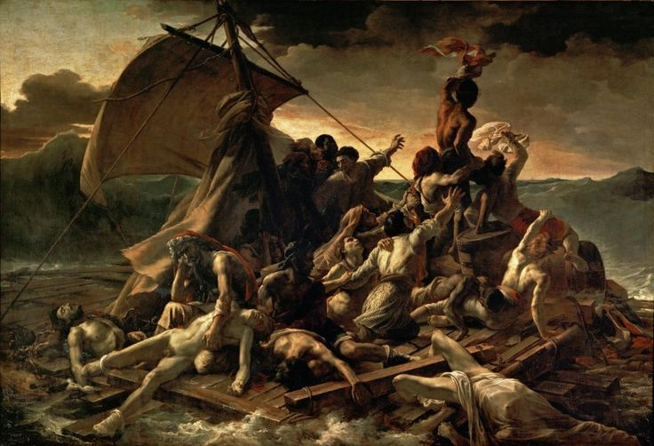 """""""Raft of the Medusa"""" by Théodore Géricault (1818-1819). """"Based on a true tabloid-like tragedy of shipwreck and cannibalism, Théodore Géricault painted this icon of French Romanticism at the age of 27. The blood and gore depicted here was based on Géricault's tireless study in morgues. Of course, everyone then (and now) had to see the painting in the flesh."""""""
