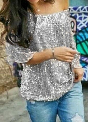 Skew Neck Sequins Decorated Silver T Shirt on sale only US$21.90 now, buy cheap Skew Neck Sequins Decorated Silver T Shirt at modlily.com