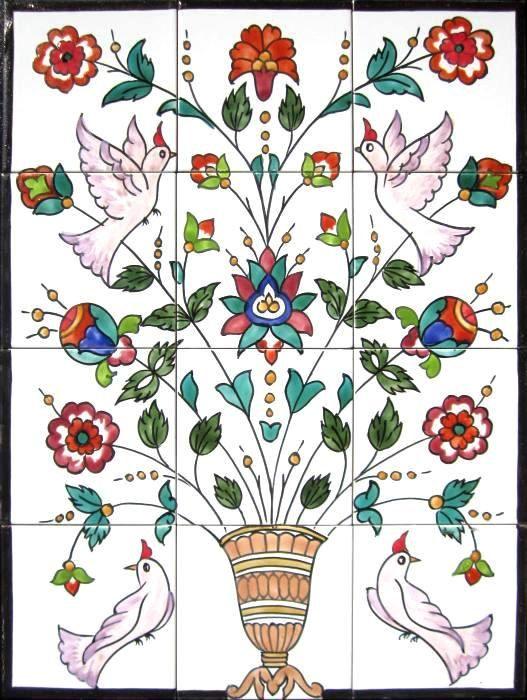 Decorative Ceramic Tiles Mosaic Panel Hand Painted Wall
