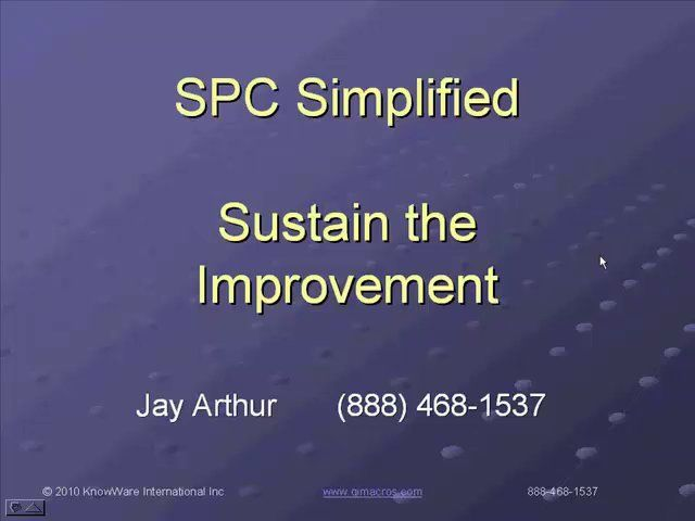 An overview of Statistical Process Control basics and the QI Macros with Jay Arthur; developer of the QI Macros Lean Six Sigma SPC software for Excel.