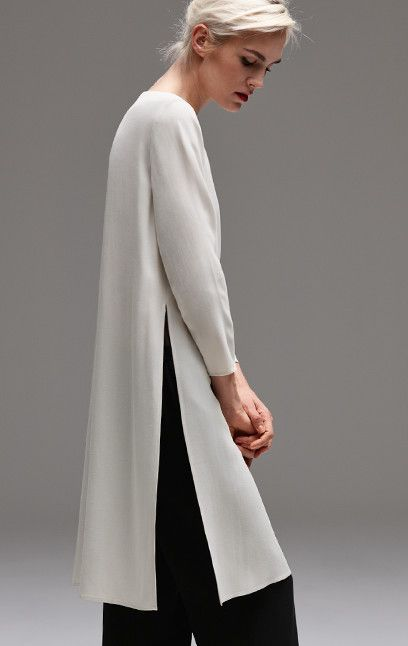 Simplicity - minimalist tunic with side slit detail; contemporary fashion // Eileen Fisher