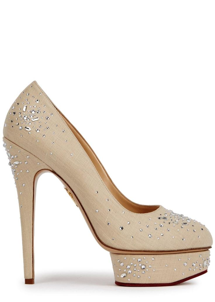 Handmade Charlotte Olympiaalmond linen pumps Heel measures approximately 6 inches/ 150mm with a 1.5 inch/ 40mm island platform Crystal embellishments, almond toe Slip on Come with an adhesive Polaroid picture which can be placed on the outside of your shoe box to archive your Charlotte Olympia collection