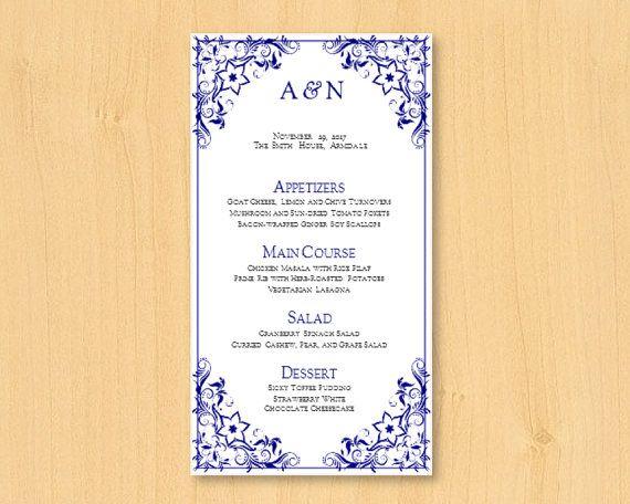 DIY wedding printable menu template for MS Word by DIYWedTemplate