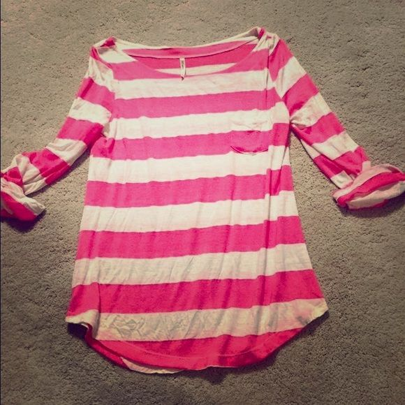 Modern vintage boutique Super cute and comfy ! Pink and white striped!size is large but fits more like medium /large Modern Vintage Boutique Tops