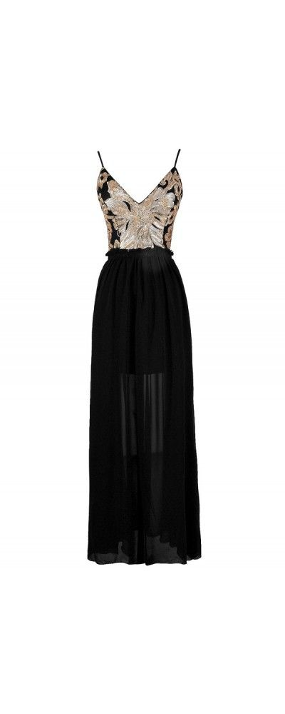 Wow Factor Open Back Sequin Maxi Dress in Black/Gold  www.lilyboutique.com