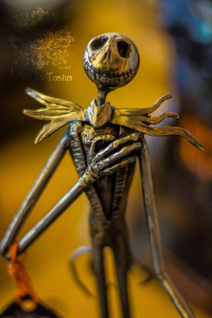 Scrap metal welded sculpture Jack skellington sings