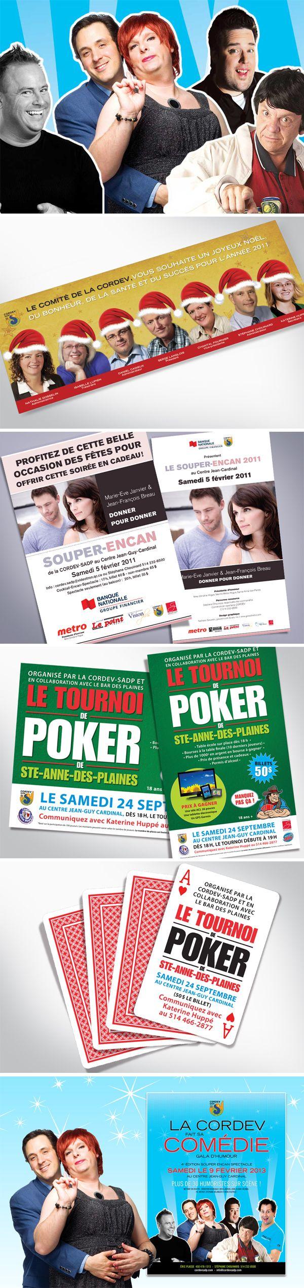 Cordev-SADP  En tant qu'administratrice et designer graphique de la corporation de développement de Sainte-Anne-des-Plaines j'ai eu la chance de développer quelques concepts.  Conception de projets pour amasser des fonds pour les membres commerçants. Spectacles, encans, tournois de Poker.  Et une carte sympathique de la part du comité pour les fêtes.