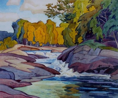 A J Casson Signed Ltd Ed - RAPIDS - Group of Seven Canadian Listed Artist