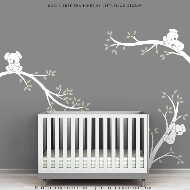 White tree decal baby room wall art tree wall decals baby for Baby nursery tree mural