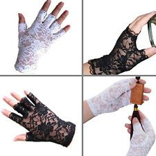 Goth Party Sexy Dressy Eye-Catching Lace Gloves Mittens Fingerless Black White
