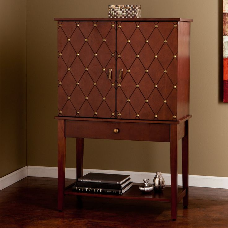 This Handsome Upton Home Bar Cabinet Features Nailhead