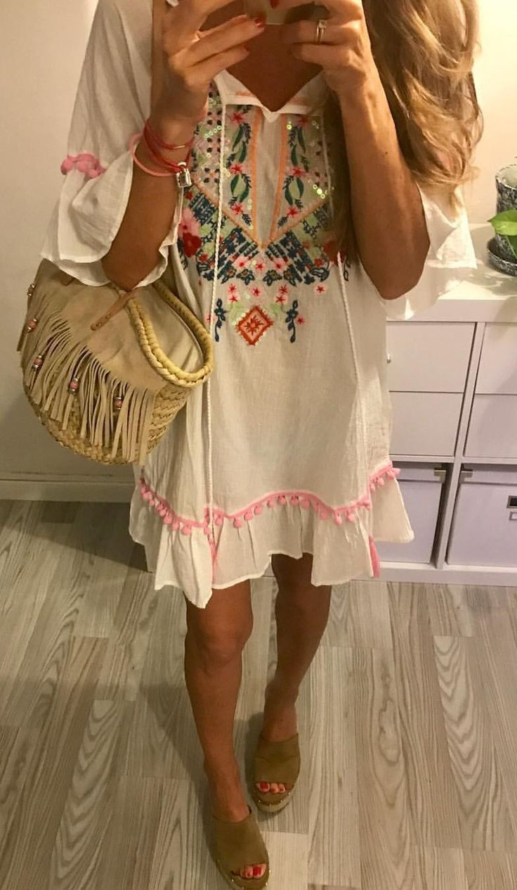 #summer #outfits  White Embroidered Dress + Fringe Tote Bag