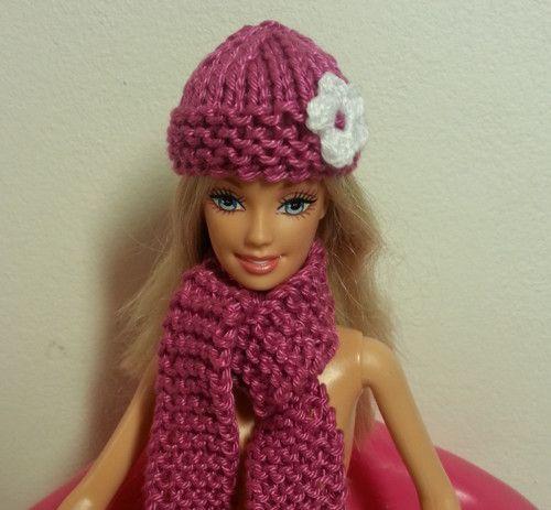 Čepice a šála (fuchsiová sada) pro Barbie