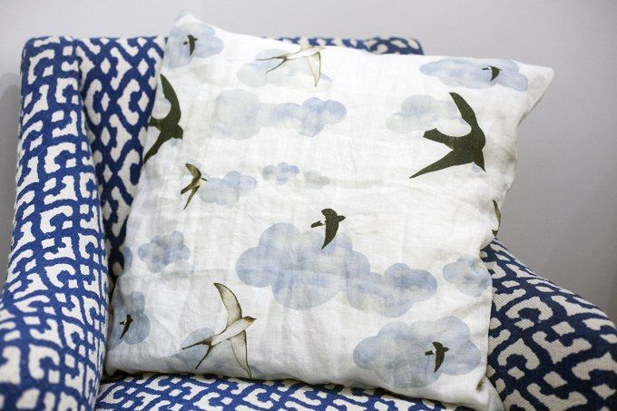 Swallows Pillow by Jain&Kriz. 100% linen.