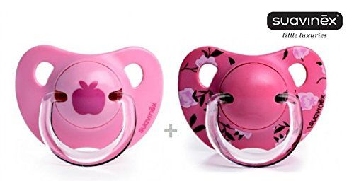 """SUAVINEX """"LIBERTY COLLECTION"""" Nr. 3800175 - 2x Pacifier Soother Dummy Anatomical Silicone Teat/ PINK (6m+)"""