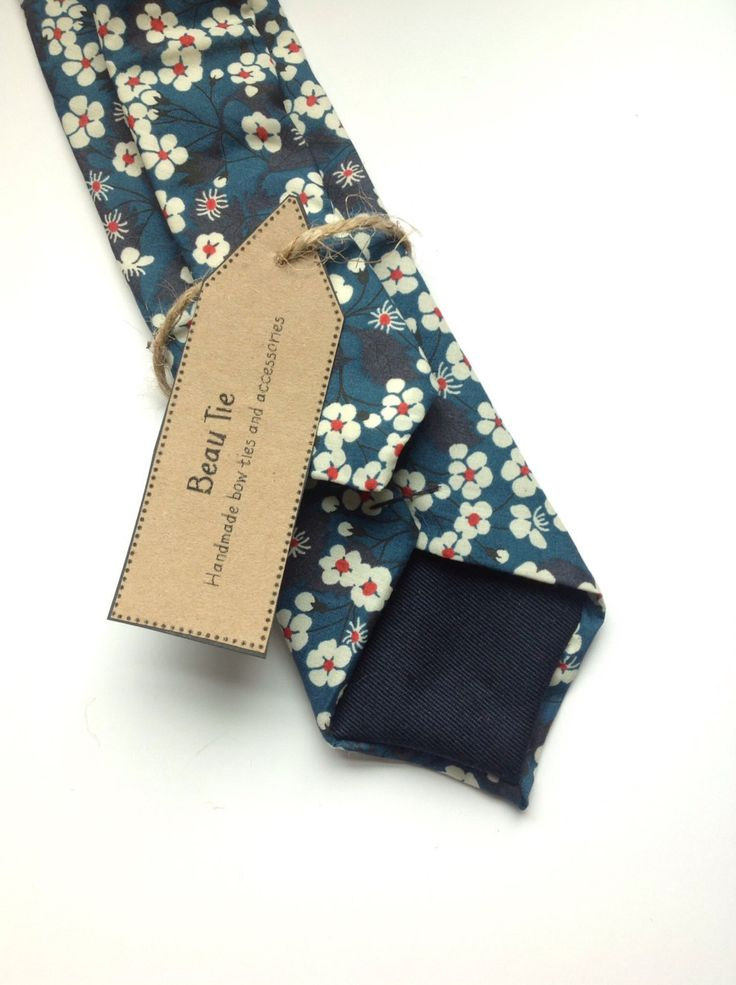 Men's skinny tie handmade using blue and red floral print Liberty cotton, menswear, groomsmen, wedding attire