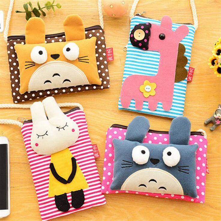 New creative cartoon phone package Ms. canvas purse small animal shapes Messenger bag shoulder bag messenger bag