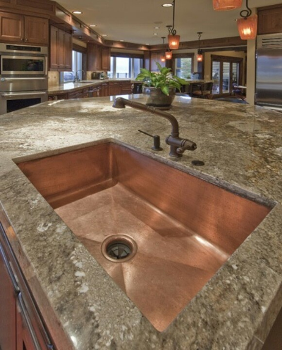 Copper Farmhouse Sink ~ Not only beautiful but also provides essential antimicrobial properties, which makes it a favored choice for kitchen sinks! Available in smooth or hammered finish and a variety of copper tones, providing a style for every taste!