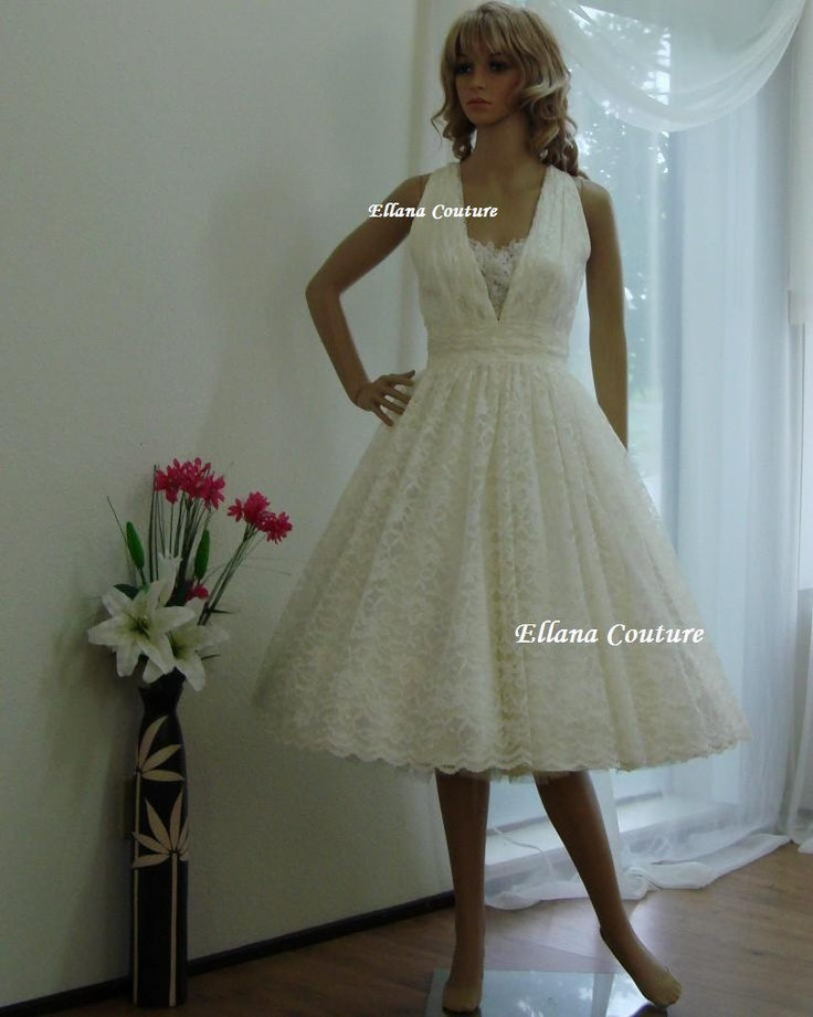 Fiona vintage style tea length bridal gown ivory lace for Etsy tea length wedding dress