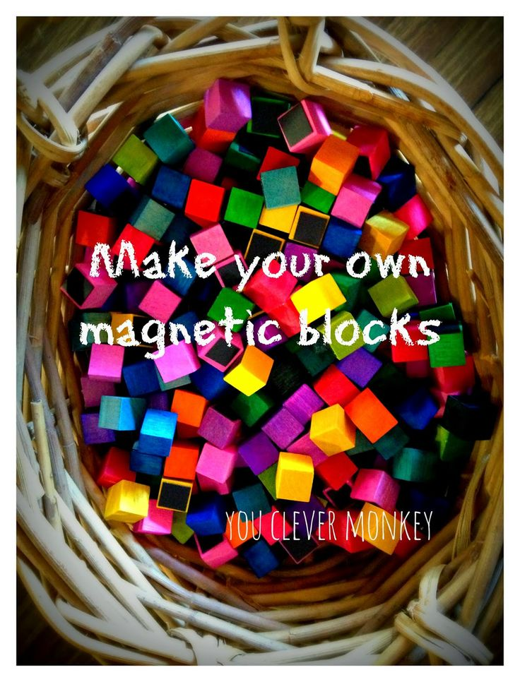 Make your own colourful blocks. To see more and for ideas of how to play with them, visit http://youclevermonkey.blogspot.com.au/