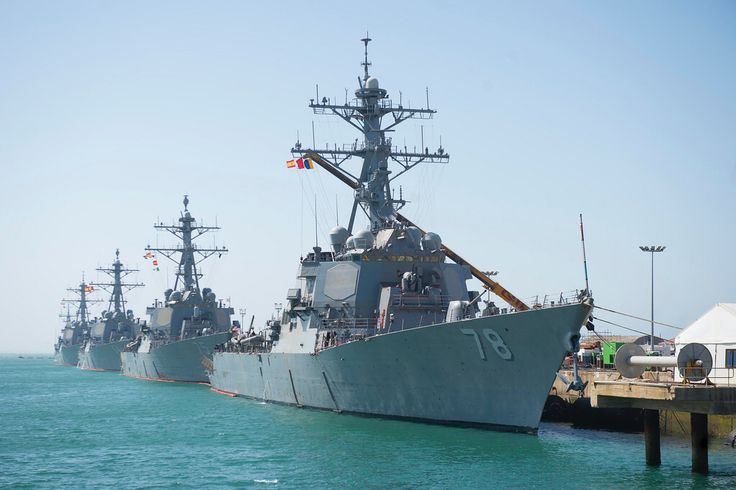 USS Porter, USS Donald Cook, USS Carney and USS Ross are moored at Naval Station Rota, Spain.