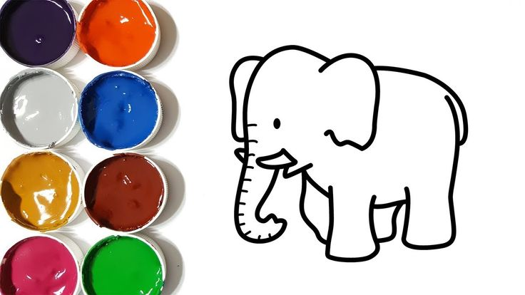 How to draw cute elephant coloring pages, drawing for kids, learn colors...