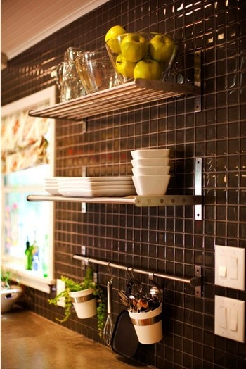 Modern, sleek, open.: Backsplash Backsplash, Open Shelves, Glasses Tile, Hanging Plants, Ikea Shelves, Back Splash, Kitchens Tile, Black Tile, Kitchens Backsplash