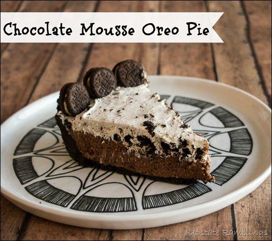 Chocolate Mousse Oreo Pie #pie #dessert