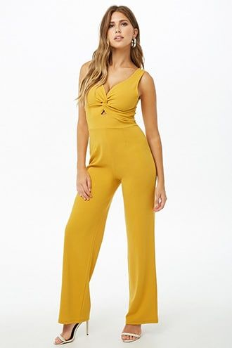 3eed763df6f1 Twist-Front Cutout Sleeveless Jumpsuit