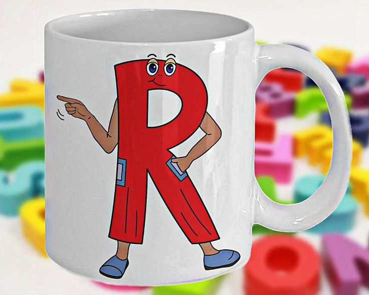 Alphabet Mug with Funny ABC Cartoon Characters as Children's Initials, Fun Gift for Kids, Letter R, 11oz, White Ceramic, Double-Sided Print by PortunaghDesign on Etsy