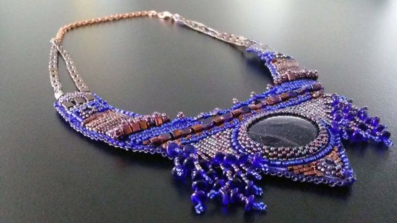 Fashion Ethnic  Embroidery necklace with  Bluesand by BYTWINS, €270.00