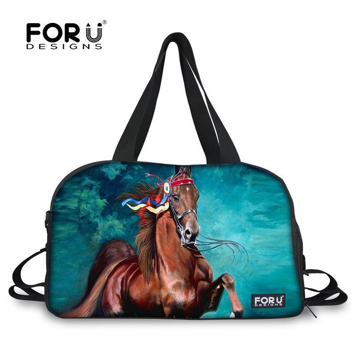 FORUDESIGNS Horse Animals UK Style Women Men Sport Gym Bags Travel Large Waterproof Tote Luggage