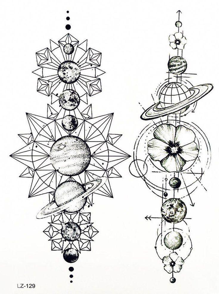 Shortterm Temporary Geometric Linework Planets Tattoo Black Venus Mars Moon Star Diymars Venus Black Linewor Tattoo Pattern Art Tattoo Girl Tattoos