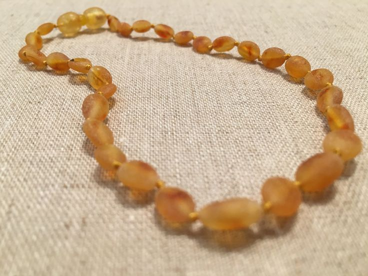 Raw UnPolished Honey Bean 11 inch screw clasp Baltic Amber Necklace teething fever colic fussiness drooling red cheeks for Baby, Infant, Newborn through about 1 year.