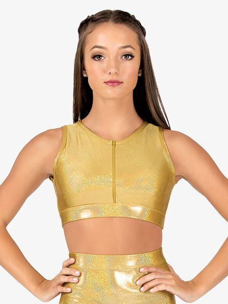 Ingenue Womens Iridescent Performance Zip Front Crop Top
