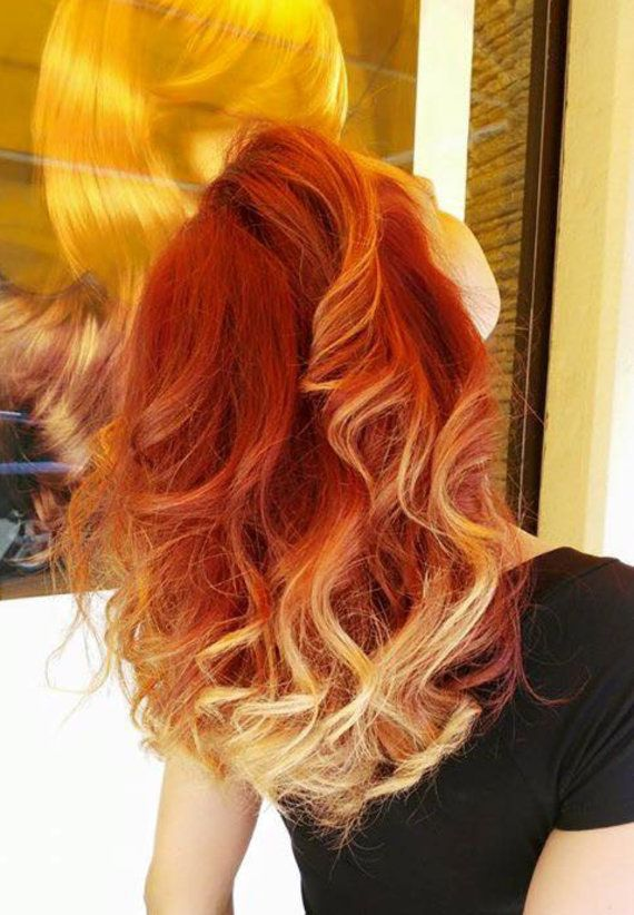 """Fire Red Orange Ombre, READY TO SHIP, Bright Red Orange Clip In Weft Hair Extensions, Red and Blonde hair, Ombre Hair Extensions, 20"""""""