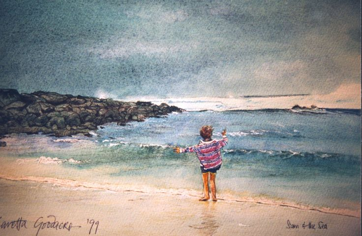 Sam and the Sea. Watercolour on paper