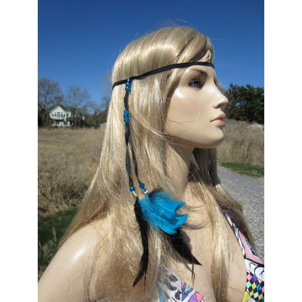 Feather Headband Hair Extension Turquoise Beaded Black Leather Wrap... (52.705 COP) ❤ liked on Polyvore featuring accessories, hair accessories, grey, headbands & turbans, headband hair accessories, hair extensions headband, boho headbands, hippy headband and headband turban