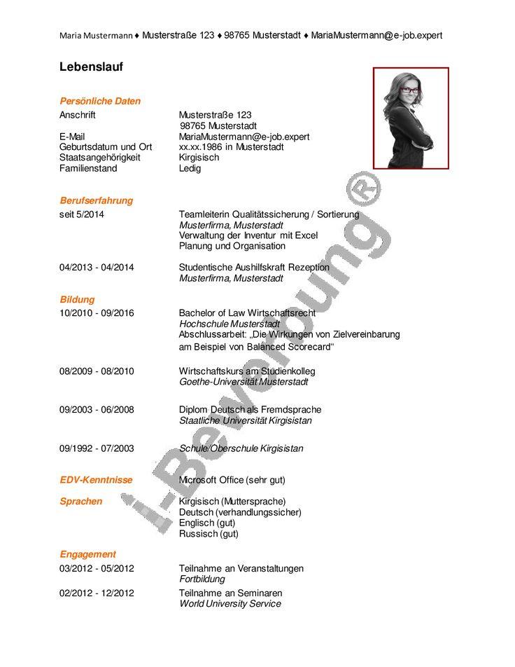 The 149 best Lebenslauf Beispiel, i-Bewerbung, Initiativbewerbung ...
