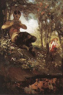 The faun (also phaunos or faunus) is a rustic forest god or goddess (genii) of Roman mythology often associated with enchanted woods and the Greek god Pan.[1]