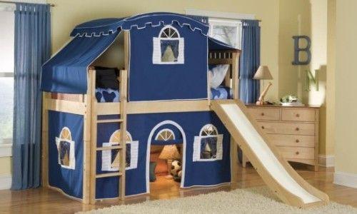 #childrens_furniture детская двухъярусная кровать с горкой