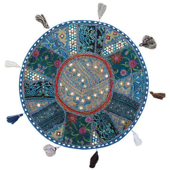 17 Rond Pouf Ottoman Coussin Oreiller Plancher En Turquoise Rond Pouf De Coussin Patchwork