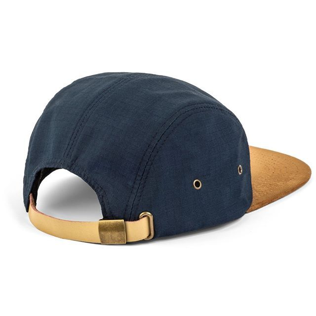 Navy 5 Panel Hat With Suede Brim Premium Metal Closure Side Eyelet Holes For Great Ventilation And Breathability Dad Hats Apparel Brand Custom Clothes