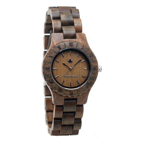 Groen houten horloge
