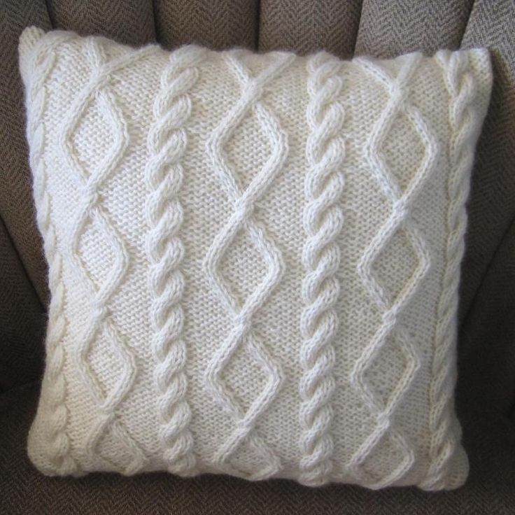 Knit Throw Pillow Cover Pattern : Diamonds and Cables Knit Pillow Cover Cable, Knit pillow and Patterns