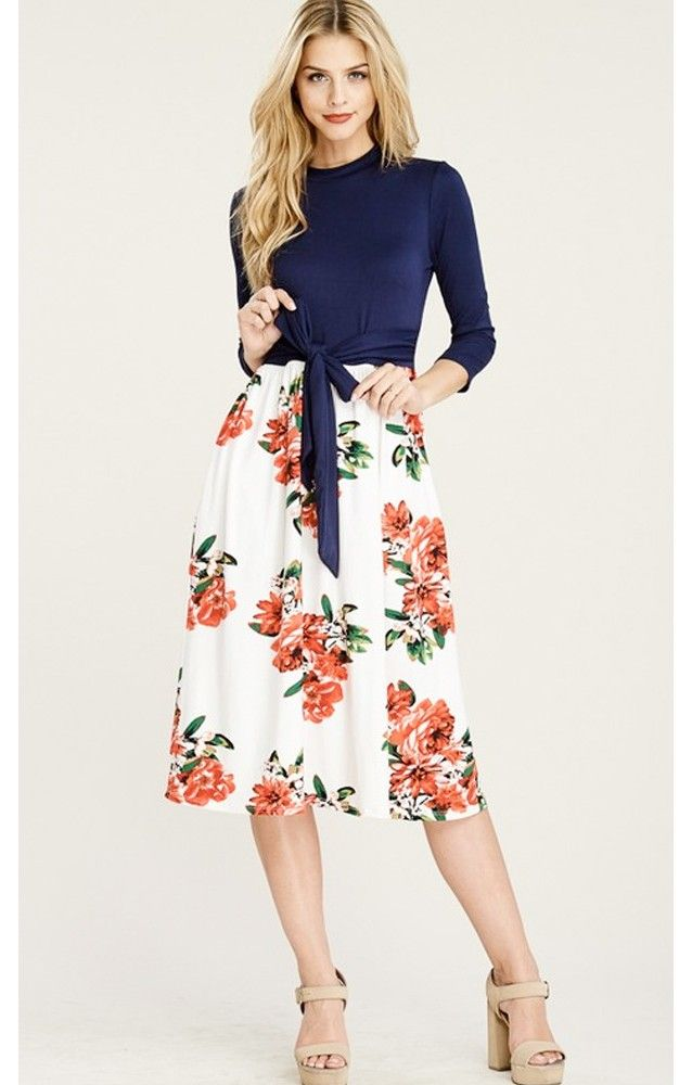 Euna is a color block 3/4 sleeve midi dress with solid bow knot top and floral skirt #modesty