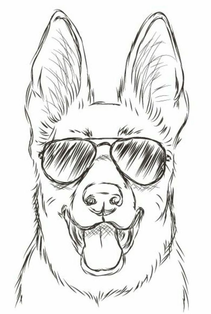 Dog with sunglasses, simple drawing tutorials, black and white, pencil sketch, white – inspiration zeichnen