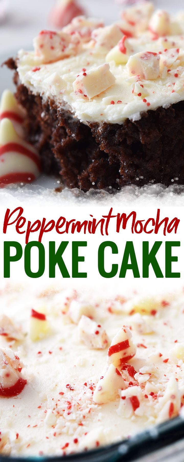 Peppermint Mocha Poke Cake - this yummy and festive holiday dessert brings together peppermint mocha with chocolate cake and peppermint buttercream icing for the perfect Christmas dessert. Plus this poke cake recipe is easy!  #pokecake #cake #christmas #holidaydessert #peppermintmocha #desserts