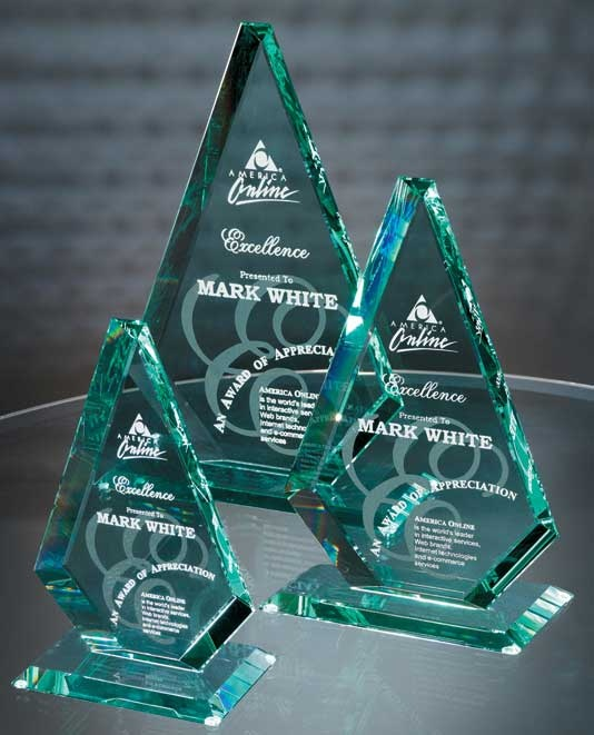 "The American Diamond Jade Glass Award is deep etched to perfection with your supplied text and logo. The sleek design of this award attracts the best light which reflects well through the bevels and facets of jade crystal. Honor excellence and inspire continued success with this flawless jade crystal award also available in 3 sizes 11"", 13"" and 15"". Shipping our jade glass awards anywhere in the world is never a problem.     http://www.edco.com/cat/jade-glass-awards"
