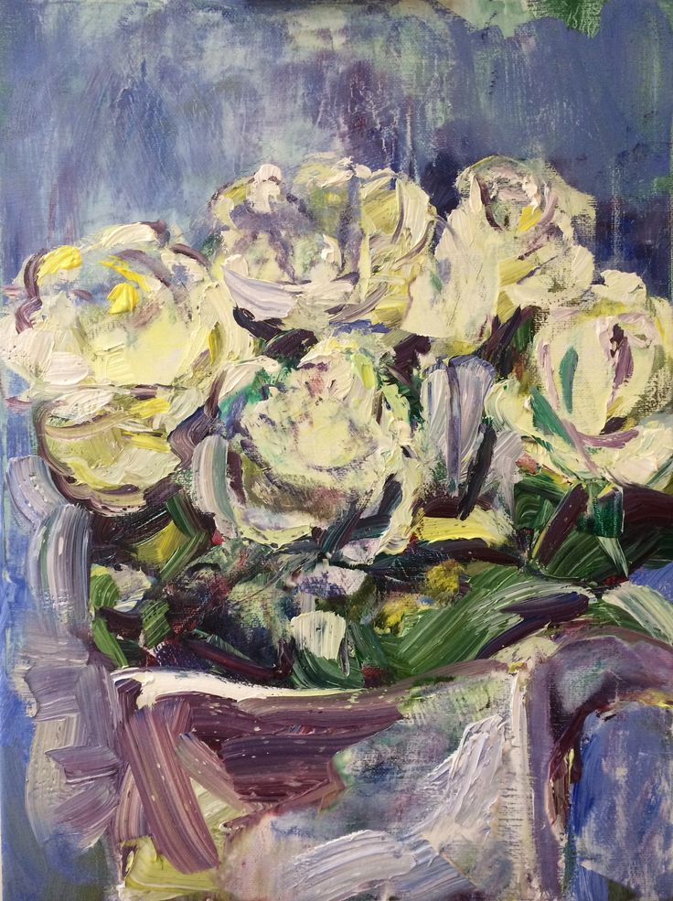Craig Longmuir, 'White Roses' oil on canvas, 30cm x 40cm, February 2018. £150 framed, free delivery in the Sheffield area, normal postage costs elsewhere.